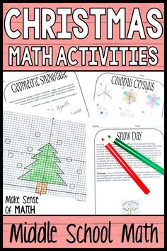 Check out these fun Christmas activities for middle school math. Your 6th grade math, 7th grade math, 8th grade math, and Algebra students will love these Christmas worksheets as they practice various math topics such as graphing linear equations, equations, geometry, and more. Click here to check out this product. #makesenseofmath Christmas Math Worksheets, Christmas Maths Activities, Math Activities, Math Enrichment, Seventh Grade Math, Math Lessons, Algebra Games, Middle School, Math Sites