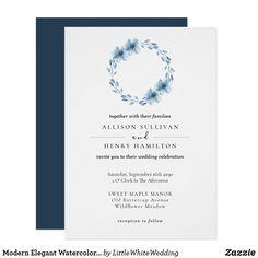 Modern Elegant Watercolor Floral Wreath Blue Invitation Floral Wreath Watercolor, Watercolor Wedding, Custom Invitations, Party Invitations, Wedding Stationery Inspiration, Celebrity Weddings, Paper Design, Wreaths, Elegant