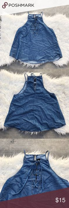 Denim chambray lace up halter top 😍 Gorgeous chambray denim lace up halter top 😍 soooo cute!! Only wore it once. Size small. Tops Blouses