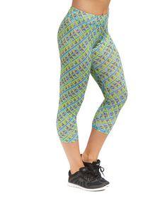 Green Geometric  Capri Leggings #zulily #zulilyfinds