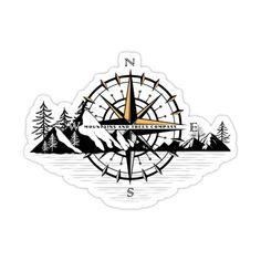 """Decorate laptops, Hydro Flasks, cars and more with removable kiss-cut, vinyl decal stickers. Glossy, matte, and transparent options in various sizes. Super durable and water-resistant. Are you looking for a cute and cool shirt for your style? If so this will be a perfect one! This """"Mountains And Trees Compass Shirt"""" will make everyone trendy! Get yours today before others. Back Tattoos, Sleeve Tattoos, Tatoos, Camp Fire Tattoo, Joy Tattoo, Mountain Tattoo Design, Polynesian Tattoo Designs, Pyrography, Art Logo"""