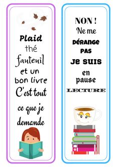 Deux petits marque-page pour accompagner nos journée et soirées de lecture, à télécharger gratuitement sur le site Quilt Festival, Diy Marque Page, Book Tasting, Eid Stickers, Bookmarks Kids, Project Life, Good Books, Crafts For Kids, Album