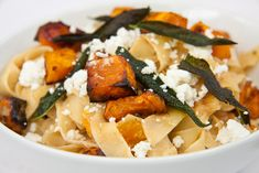 Fettucini with Roasted butternut, goat's cheese and fried sage - Simply Delicious— Simply Delicious