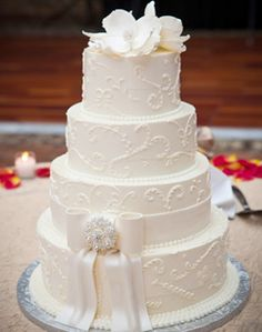 Love the piping detail, only thing I would change is the topper would be Cinderella, and instead of the bow I would have hot pink sugar flowers