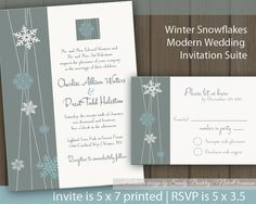 Snowflakes Winter Wedding Invitation  Printable by NotedOccasions, $38.00