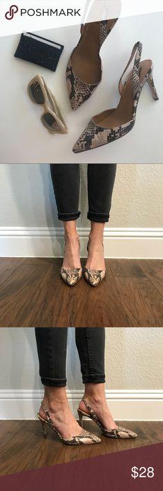 8d449fe631b Ava   Aiden matte snake print sling back heels Ava   Aiden sling back heels.
