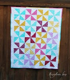 pinwheel quilt with pebble free motion quilting