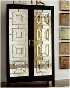 My favorite aspect of art deco-style home decor has to be the ultra-glam mirrored furnishings. Furniture, Chic Furniture, Mirrored Furniture, Art Deco Interior, Mirror Cabinets, Art Deco, Home Deco, Art Deco Cabinet, Interior Deco