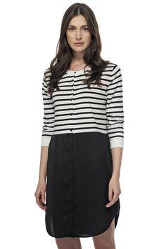 Robe de maille rayée avec bas en crêpe / Knited striped dress with crepe bottom https://www.tristanstyle.com/en/femmes/robes/robe-de-maille-rayee-avec-bas-en-crepe/8/fv090c0949z/