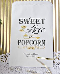 Wedding Popcorn Bar Bags  - Popcorn Bags Wedding - Popcorn Bar ideas - Country wedding - Rustic wedding by SMCfavors                                                                                                                                                     More