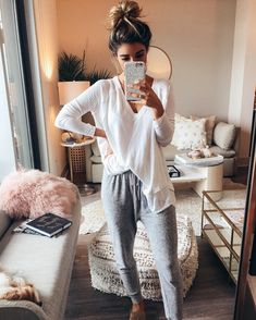 It's a PJ party and Chloe and I are having a ball just slouching away in our slouchy joggers honestly, thanks for asking (this is what we do literally all winter, who's with me ). These pants are my favorite soft-to-touch sweats ($49) so far.. plus linking a thermal that's a closet staple under every layered look. Linking my whole living room too.. find everything under the link in my insta profile, the @liketoknow.it app, or via this URL: http://liketk.it/2tmjI ...