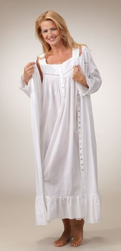 a22966b001 Eileen West Peignoir Set - Cotton Lawn Sleeveless Gown and Robe Set in White  - Monaco