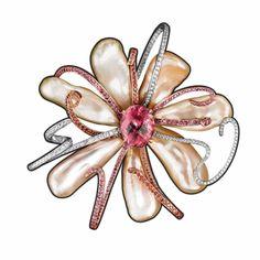 Flower brooch in keshi pearls, gemstones, and diamonds by Lorenz Baumer