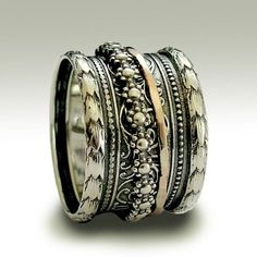 Sterling silver oxidized band with silver and  Glitters