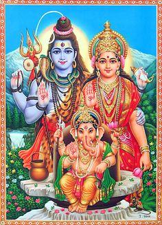Shiva, Parvati and Ganesha (Reprint on Paper - Unframed))
