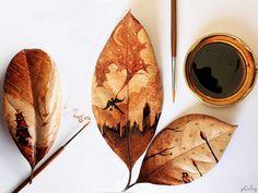 Ghidaz Al-Nizar uses the coffee remnants for create his drawings Ghidaz Al-Nizar usa para crear dibujos con los restos de café EN English ES Español IT