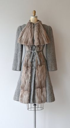 Vintage 1930s pewter grey wool coat with silvery gray sheared panels extending the length of the front of the coat along the buttons, large wool