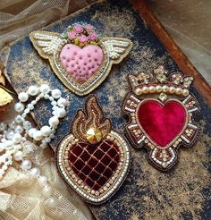 Beautiful jewelry in St.Valentine& Day style - Beautiful jewelry in . - Beautiful jewelry in St.Valentine`s Day style – Beautiful jewelry in St.Valentine`s Day style Bead Embroidery Jewelry, Beaded Embroidery, Beaded Jewelry, Amber Jewelry, Fine Jewelry, Jewelry Making, Gold Jewelry, Brooches Handmade, Handmade Jewelry