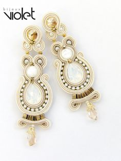 Soutache Earrings Turquiose par Violetbijoux sur Etsy