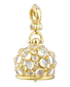 18k Moonstone/Diamond Meditation Bell Pendant, 20mm, metallic - Paul Morelli