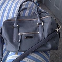 ❤FRIDAY ONLY❤️Gray Leather Satchel Style Purse❤️ Used a couple of times, great condition, genuine leather, one long strap and two handles, clean, goldtone hardware. Bags Satchels