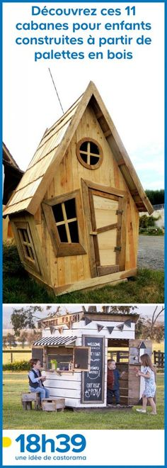 11 children's huts built from wooden pallets Tiny House Cabin, Backyard, Patio, Architecture Plan, Diy Home Crafts, Wooden Pallets, Play Houses, School Design, Wood Projects