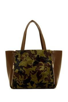 INZI by High Fashion Large Printed Genuine Calfhair Tote