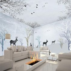 White Leisurely Deer in the Forest Pattern Combined Waterproof 3D Ceiling and Wall Murals - beddinginn.com