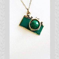 Green Toy Camera Pendant and Chain