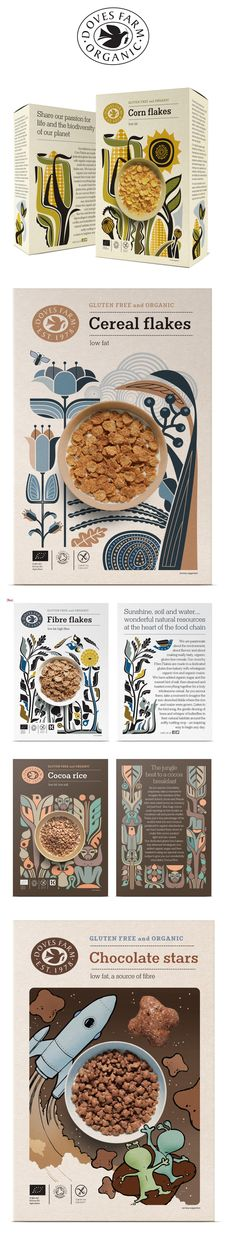 Studio h. Doves Farm brand   packaging design. #flakes #cornflakes #dovesfarm…