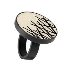 Fingerring Keramik Grafik 373-800 -SW Edelstahl pvd Schwarz, hk schmuck