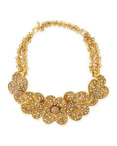 Gold-Plated Flower Necklace with Crystals by Jose & Maria Barrera at Bergdorf Goodman.