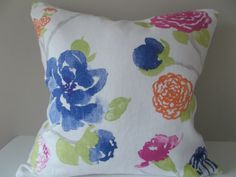 """This Braemore Floral Watercolor Yoshino White Tea Decorative Pillow Cover is a Beautiful Accent Pillow, that Showcases the ..""""YOSHINO WHITE TEA"""".. Print Designer Pattern, From the Asian Influence Collection.  This Pattern Features a Large Scale Flower and Vine Print Design. The Largest Bloom is the Carnation-Like Design, which Measures About 6-1/2"""" Across. Colors Include Fuschia, Deep Pink, Leaf Green, Grey, Indigo Blue and Pale Lavender, Against an Off-White Background."""