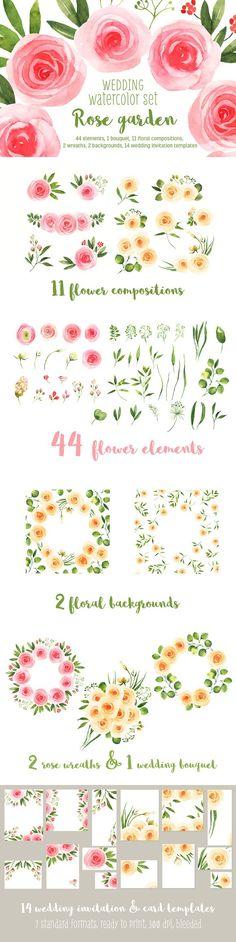 Wedding watercolor floral bundle. Watercolor Flowers. $19.00