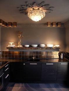 Beautiful Kitchen area. Bronze and grey/.