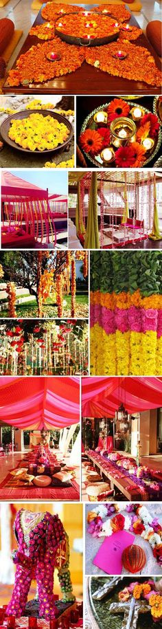 wonderful collage of floral work- check out the elephant made of flowers