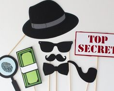 James Bond Spy Photo Booth Props - Inspector Detective 8 Piece Secret Agent Photobooth Prop Set