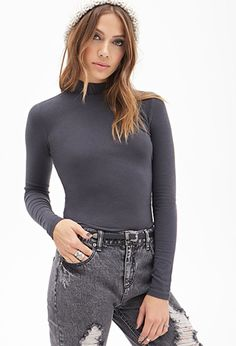 Gray Classic Mock Neck Turtleneck Top   FOREVER21 - 2000119086 more colors available $8