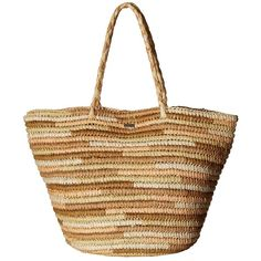 Roxy Butternut Tote Beach Bag (Lark) Tote Handbags ($46) ❤ liked on Polyvore featuring bags, handbags, tote bags, beach tote, straw tote, roxy tote, white tote and tote purses