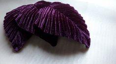 3 Velvet Millinery Leaves Old Stock in Plum Aubergine for Headbands, Hats, Floral Supply