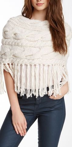 Chunky Cable Knit Fringe Poncho by & Union Moda Crochet, Knit Or Crochet, White Poncho, Knitting Patterns Free, Crochet Patterns, Knitted Poncho, Crochet Clothes, Capes & Ponchos, Cable Knit