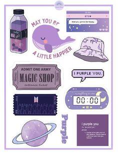 BTS Stickers, Purple Aesthetic Stickers, BTS Merch || Eerie Vibes||