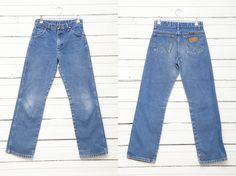 1980's Vintage Dark Blue High Waist Zip Up Cigarette Jeans / Size S / Women High Rise Retro Boho Festival Denim Pants by CoverVintage on Etsy