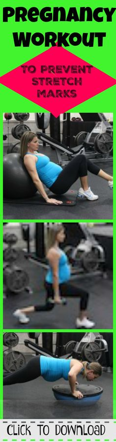 Great Full Body Pregnancy Workout to help you not gain a ton of weight during pregnancy.  20 Single Leg Hip extensions on ball, 20 stationary lunges, 20 knee pushups.  Try 3 sets.  More pregnancy workouts that are safe for every trimester here.