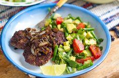 Beef Burgers With Jerk Onions & Cucumber Avocado Salad | Eat Drink Paleo