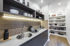 A Butler's Pantry of your dreams! This Pantry is featured at the Metropolitan Googong. House Design, Kitchen Solutions, Industrial Decor Kitchen, Kitchen Decor, Industrial Interiors, House Interior, Butler Pantry, Shop Interiors, Pantry Design