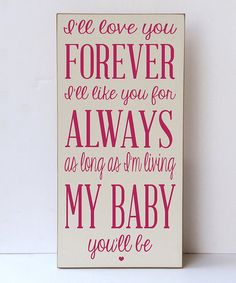 Look what I found on #zulily! Cream & Pink 'Love You For Always' Wall Sign #zulilyfinds