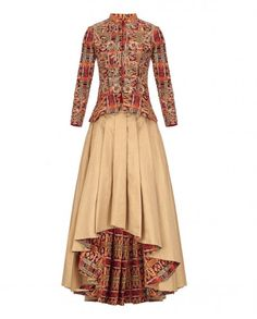 Golden beige asymmetric lengha skirt with printed inner lining detailing. Fine pleats adorn the skirt. This set also includes a matching peplum style full sleeves jacket featuring abstract prints and golden floral embroidery. Stones and beads embellishment adorn the jacket. Mandarin collar with hook and eye placket. Wash Care: Dry clean only