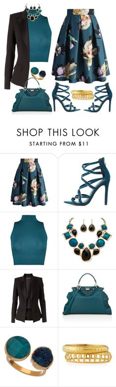 """""""Teal"""" by kimzarad1 ❤ liked on Polyvore featuring Chicwish, Charlotte Russe, WearAll, Palm Beach Jewelry, Alexandre Vauthier, Fendi, Janna Conner Designs and Ashley Pittman"""