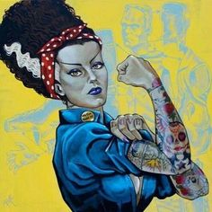 Badass tattoo edit of the Bride of Frankenstein posed as World War II icon Rosie the Riveter. New Jersey native Mike Bell is a true lowbrow artist. Mike Bell uses a heavy hand of nostalgia and humor. Rosie The Riveter, Psychobilly, Beetlejuice, Mike Bell, Pop Art, Bride Of Frankenstein, Frankenstein Tattoo, Classic Monsters, Lowbrow Art